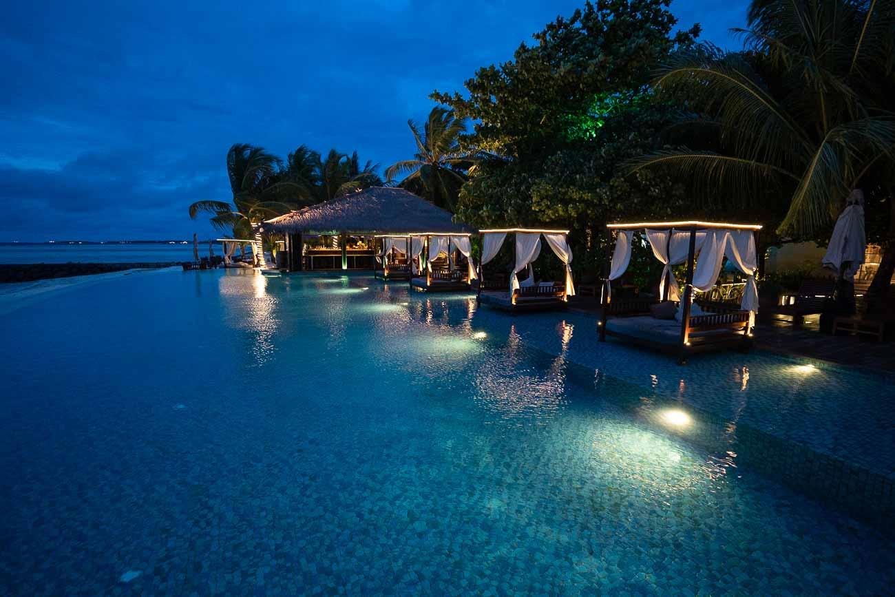Pool at night at The Residence Maldives