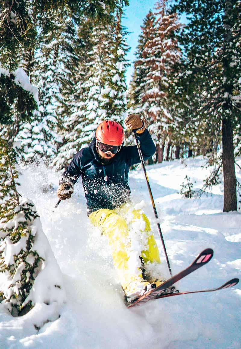 man skiing down mountain in Lake Tahoe