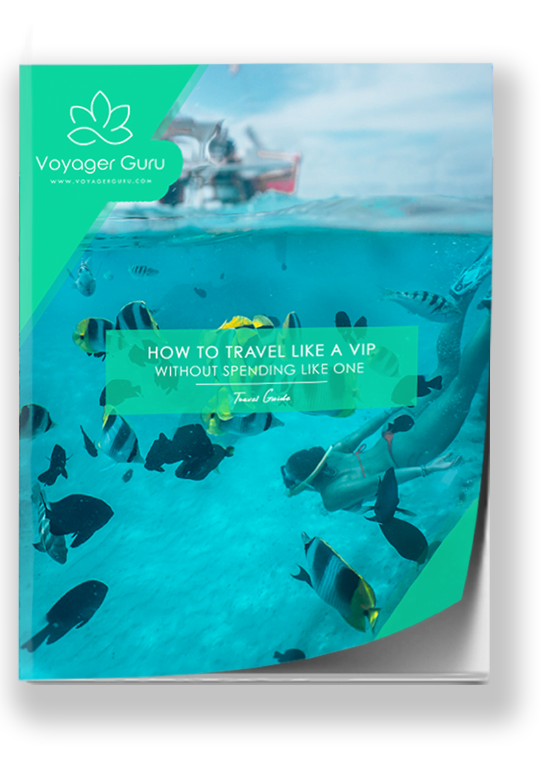 front cover of our ebook about how to travel like a VIP, with a photo of diving under water