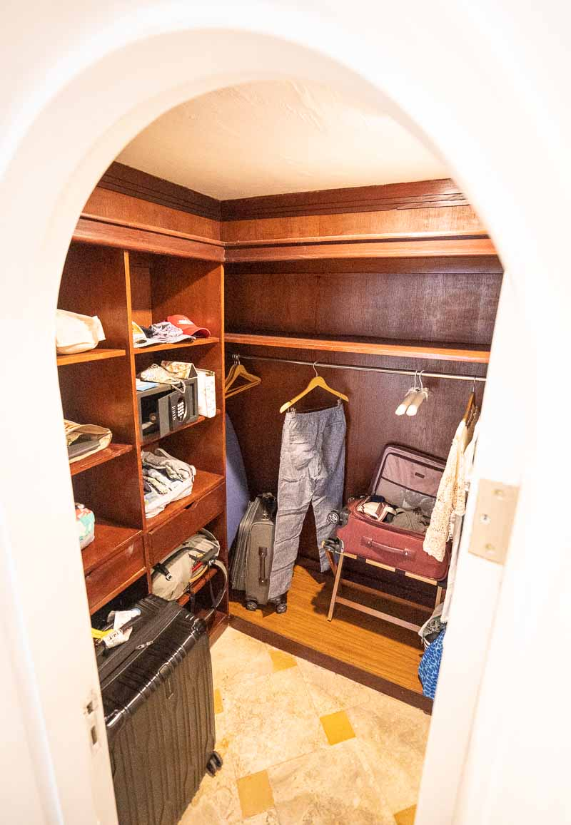 large walk in closet in hotel suite