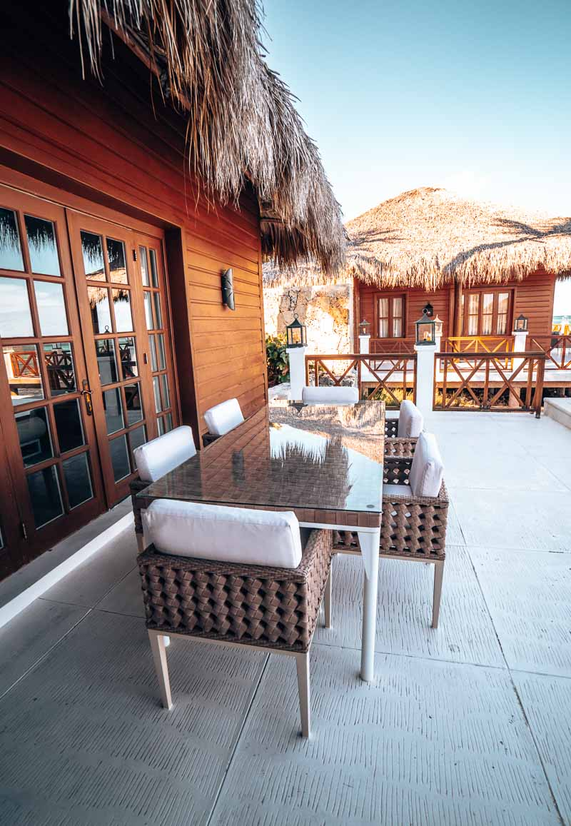 large patio on overwater bungalow
