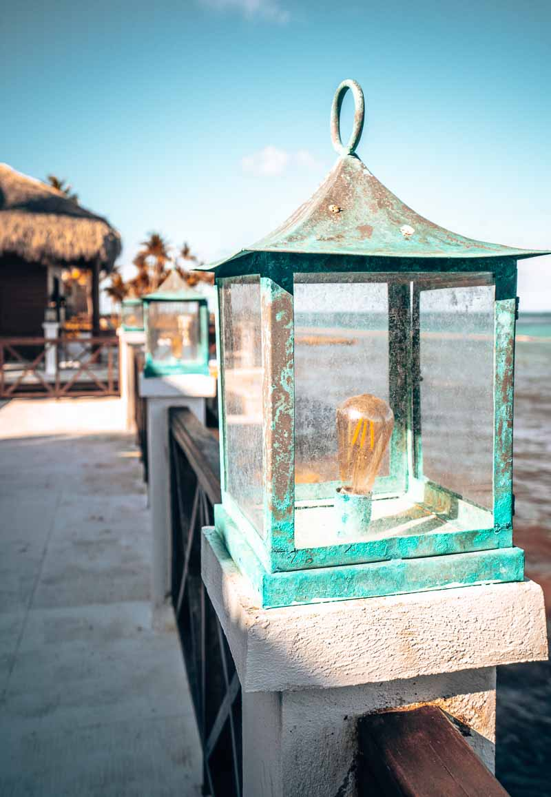 exterior lighting on overwater bungalow