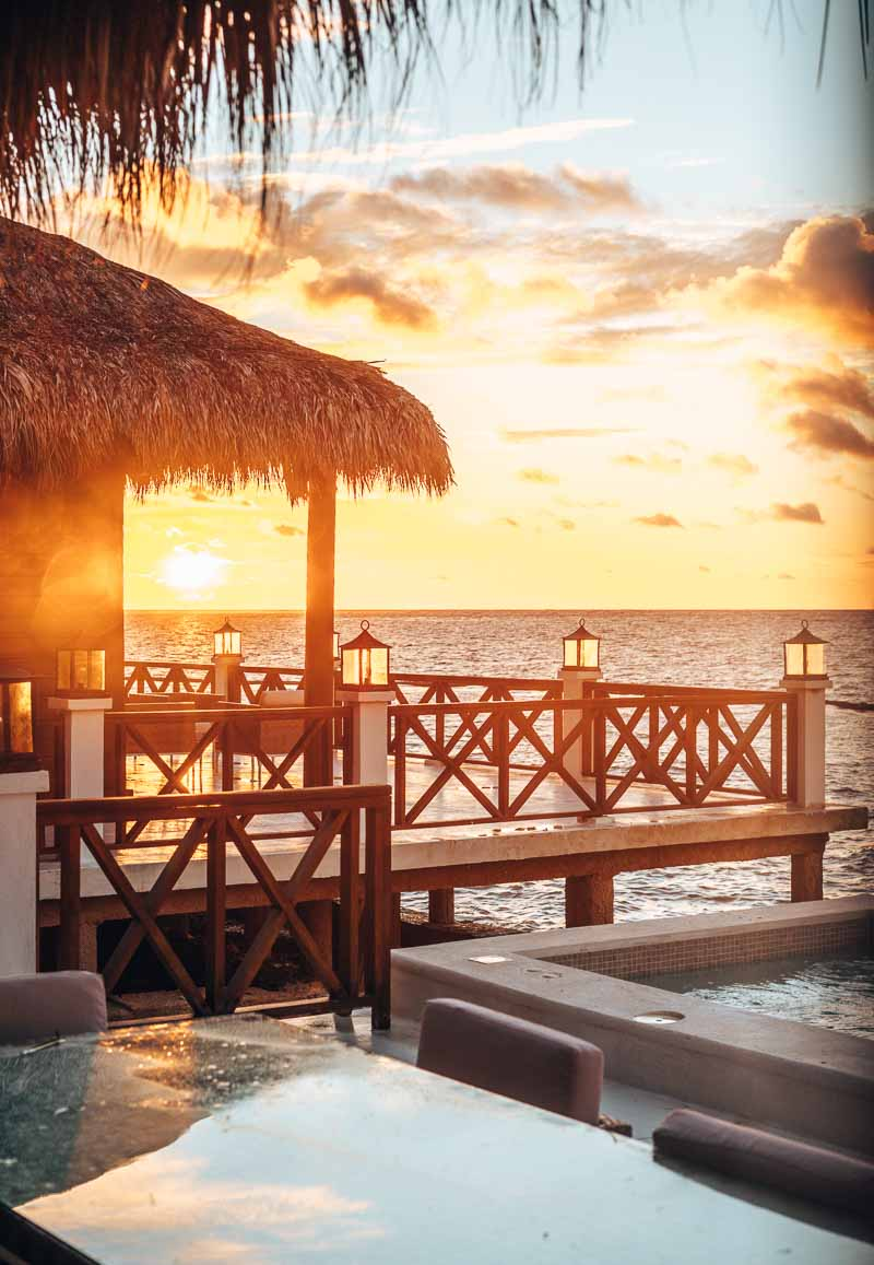 sunrise views from overwater bungalow