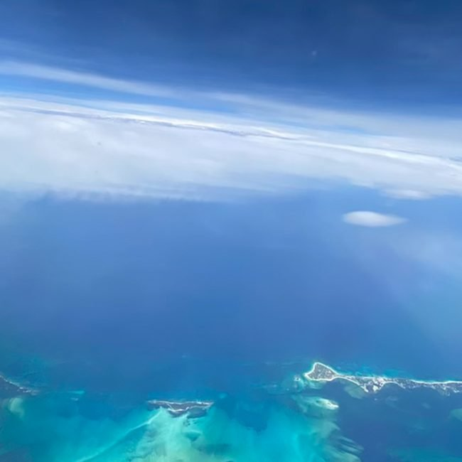 view from boeing 737 over Caribbean