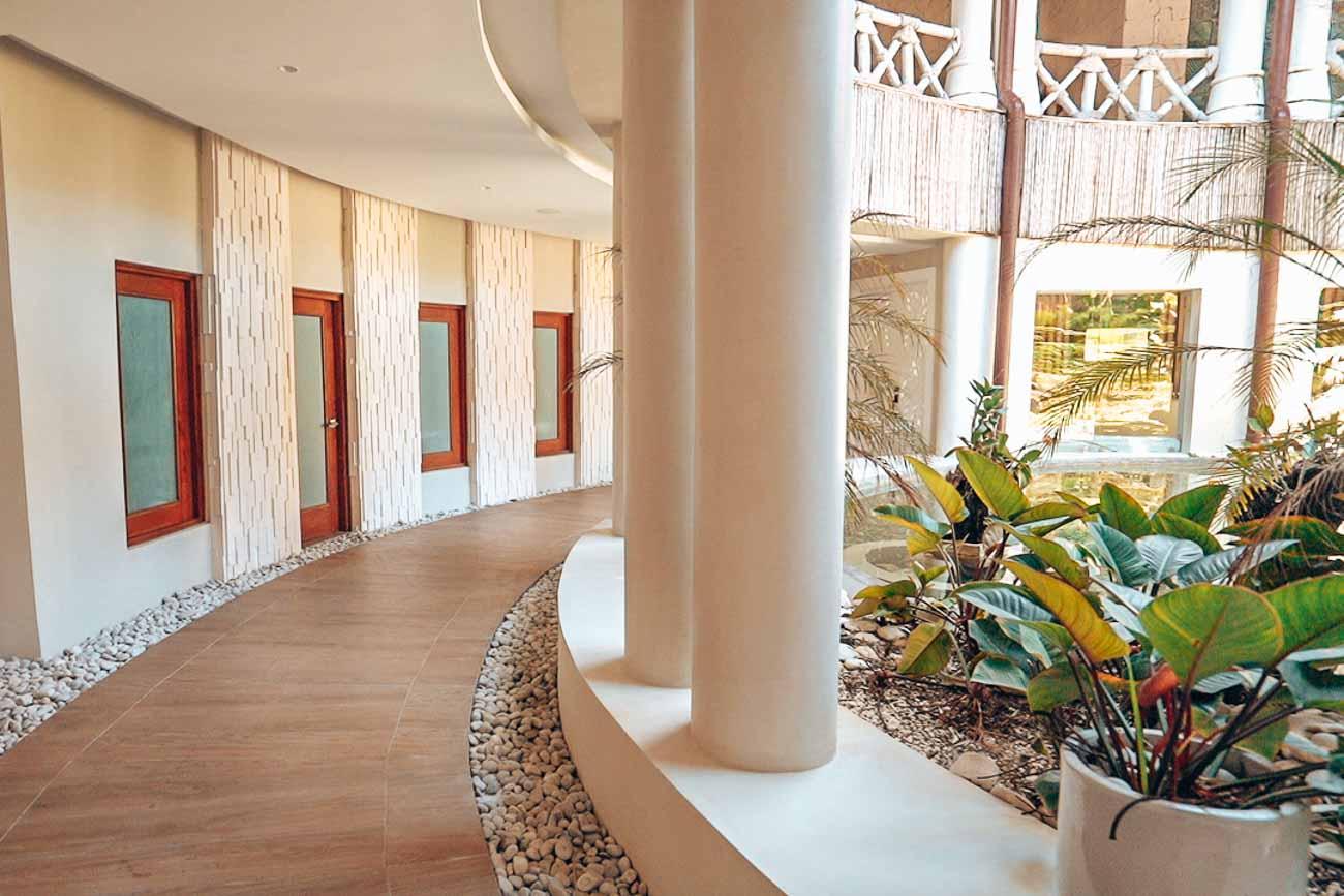 artful hallway to spa