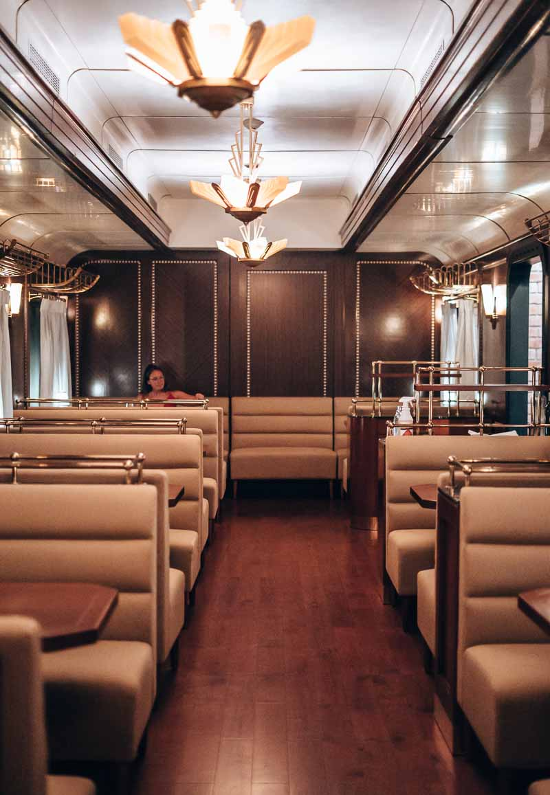 dining in train car
