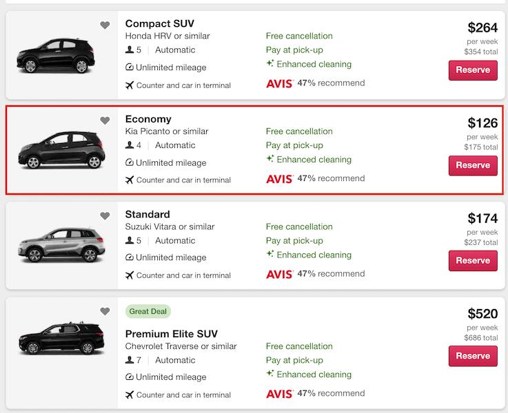 Screenshot of car rental agency