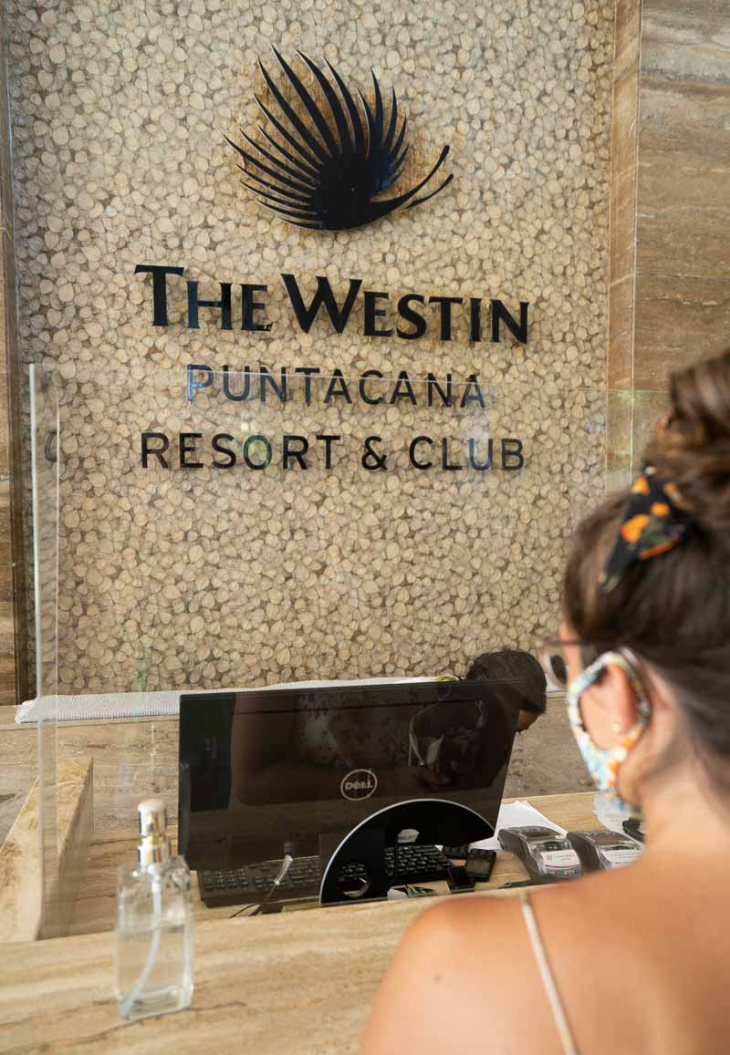 Westin Punta Cana lobby wearing a mask