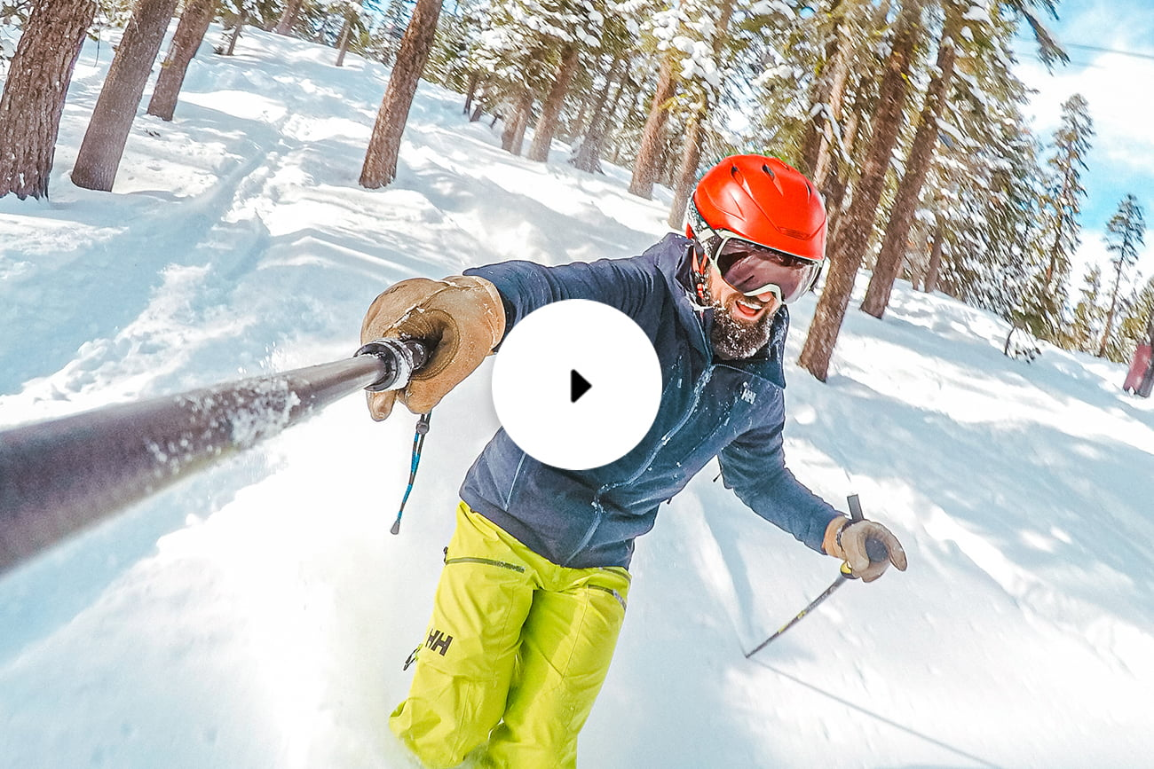 man skiing with gopro